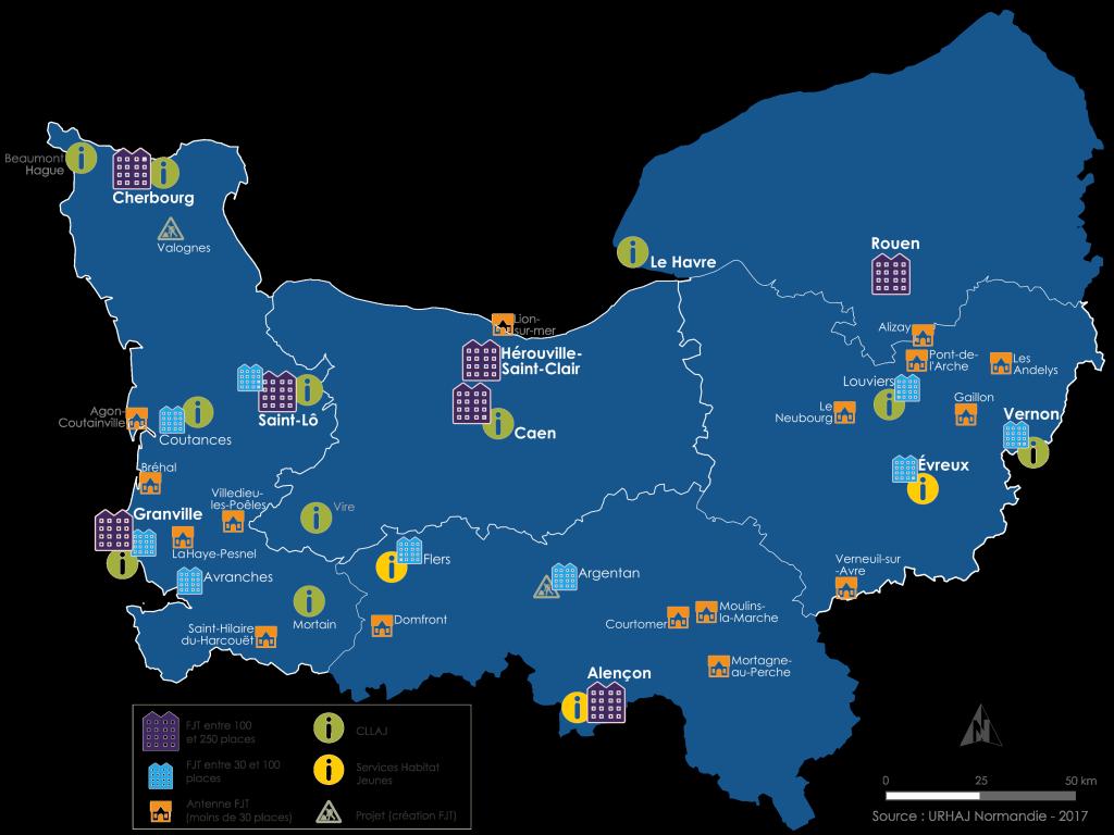 Carte du réseau des adhérents URHAJ Normandie